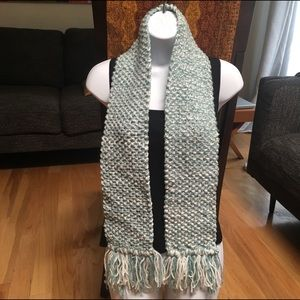 Accessories - Teal/white hand knit scarf